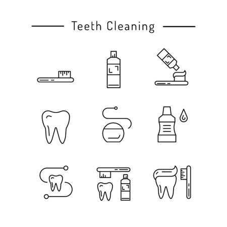 used items: The items used for oral hygiene. Teeth cleaning icons outline set. Illustration