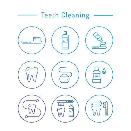 higiene bucal: Los elementos utilizados para la higiene bucal. Los dientes de limpieza iconos conjunto contorno.