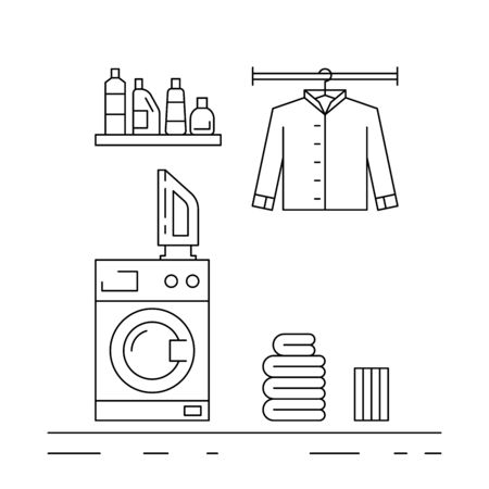laundry room: Elements for laundry interior. Laundry room interior vector
