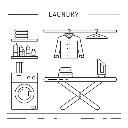 washing powder: Elements for laundry interior. Laundry room interior vector