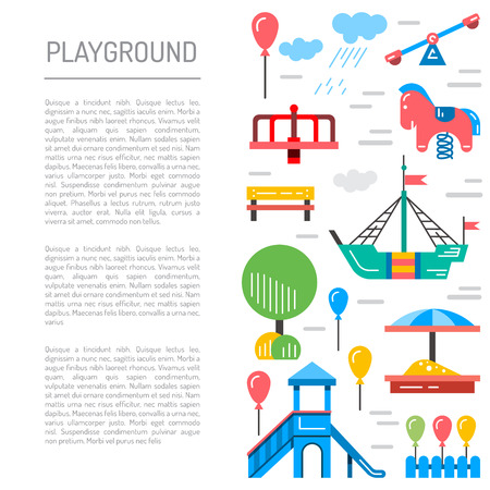place for children: Childrens Playground with swings. A place for children play in the yard. Childrens Playground drawn in a linear style, vector, outline.