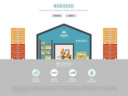 transportation facilities: The warehouse work with loading and unloading of cargo. Warehouse complex style flat, linear, outline. Forklift works in a warehouse.