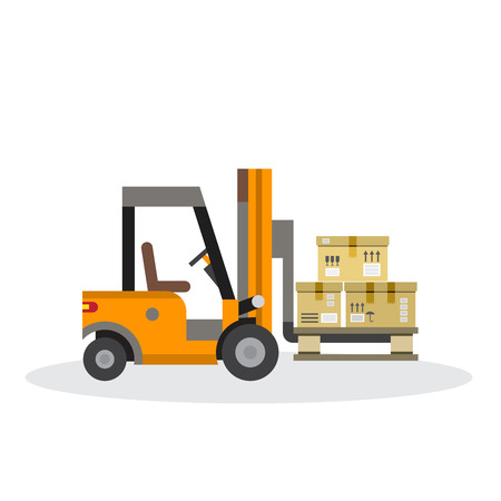 unloading: The warehouse work with loading and unloading of cargo. Warehouse complex style flat. Forklift works in a warehouse.