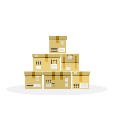 warehousing: The stack of cardboard boxes, flat. Warehousing boxes. Box for packing goods for delivery. Illustration