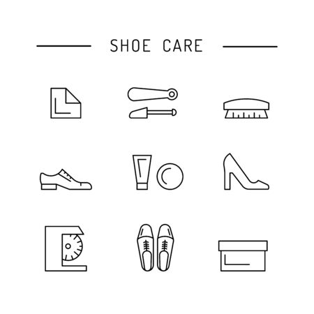 Set icons items for Shoe care. Elements for this service Shoe Shine. Outline icon for shoe care Vector Illustration
