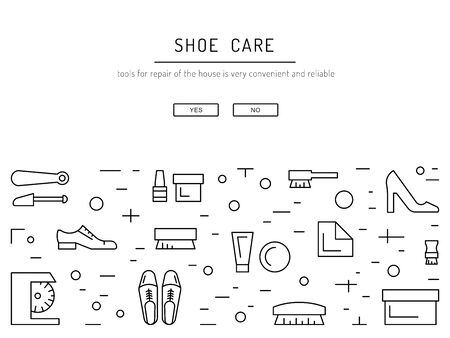 Set icons items for Shoe care. Elements for this service Shoe Shine. Outline icon for shoe care