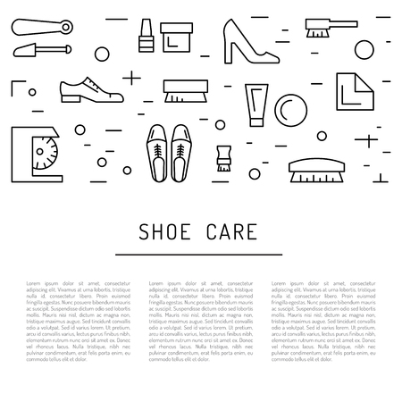 shoe repair: Set icons items for Shoe care. Elements for this service Shoe Shine. Outline Elements for shoe care Illustration