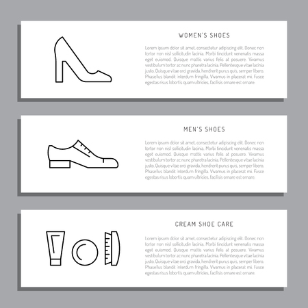 rags: Set icons items for Shoe care. Elements for this service Shoe Shine. Outline Elements for shoe care Illustration