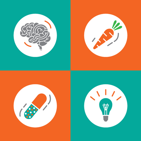 brain function: Vector icons brain set. Brain vitamins. Brain health icons. Vitamins in pill, vegetable, idea and brain. Brain function icons. Brain work icons.
