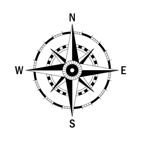 Vector compass. Vector geo mark Wind Rose. Isolated vector compass. Rose Wind in lineal style. Image of Compass for Columbus Day. Vector marine wind rose for travel, navigation design.