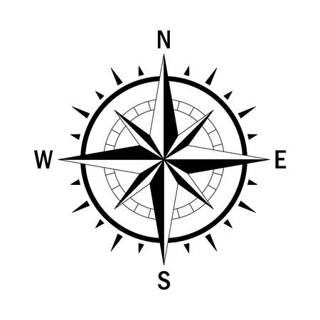 Vector kompas. Vector geo markeren Wind Rose. Geïsoleerde vector kompas. Rose Wind in rechte lijn stijl. Afbeelding van Kompas voor Columbus Day. Vector marine windroos voor reizen, navigatie design.