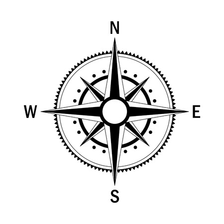 meridian: Vector compass. Vector geo mark Wind Rose. Isolated vector compass. Rose Wind in lineal style. Image of Compass for Columbus Day. Vector marine wind rose for travel, navigation design.