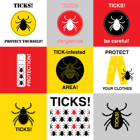 Vector insect tick set. Dangerous tick parasite area. Vector mite beetle. Tick icon isolated.  Vector tick bug silhouette. Tick parasite warning sign. Ticks protection. Mite skin parasite. Stock Illustratie
