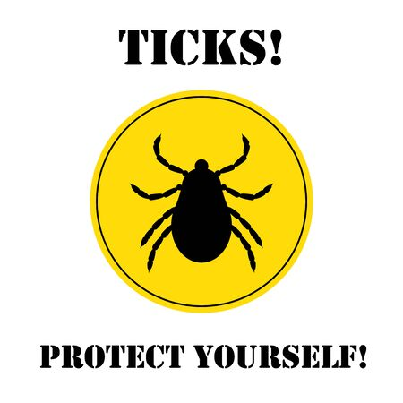Vector Insekt Zecke Silhouette. Gefährliche Zecke Parasit Bereich. Vector Milbe Käfer. Tick-Symbol isoliert. Vector tick Bug. Tick ??Parasit Warnzeichen. Ticks Schutz. Mite Hautparasiten.