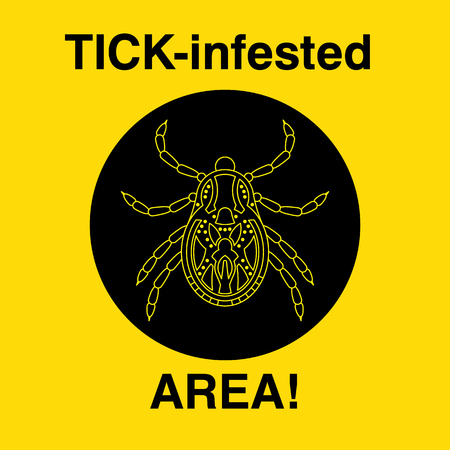 beware dog: Vector insect tick silhouette. Dangerous tick parasite area. Vector mite beetle. Tick icon isolated. Vector tick bug. Tick parasite warning sign. Ticks protection. Mite skin parasite. Illustration