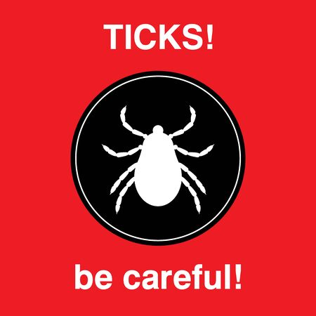 acarid: Vector insect tick silhouette. Dangerous tick parasite area. Vector mite beetle. Tick icon isolated. Vector tick bug. Tick parasite warning sign. Ticks protection. Mite skin parasite. Illustration