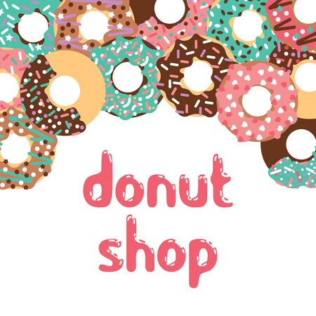 donut shop: Vector donut illustration. Vector donut shop. Donut shop logo. Isolated donuts for cafe. Deserts food in a flat style. Sweet donuts with frosting and caramel topping. Illustration