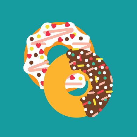 sprinkling: Vector donut illustration. Vector donut icon. Donuts isolated. Deserts food in a flat style. Sweet donuts with frosting and caramel topping. Donuts icons. Illustration
