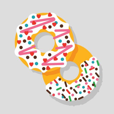 topping: Vector donut illustration. Vector donut icon. Donuts isolated. Deserts food in a flat style. Sweet donuts with frosting and caramel topping. Donuts icons. Illustration