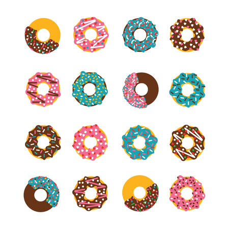 Vector donut set. Donust isolated on a white background. Deserts food in a flat style. Sweet donuts with frosting and caramel topping.