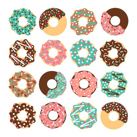 sprinkling: Vector donut set. Vector donut collectin. Donut isolated on a white background. Deserts food in a flat style. Sweet donuts with frosting and caramel topping. Donuts icons. Donut isolated. Illustration