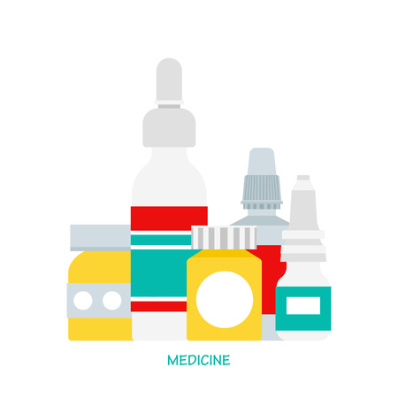 medicine bottles: Vector medicine bottles. Medicine pills bottle box. Medicine bottles isolated on light background. Medical vector illustration. Vector pills bottles in flat style.
