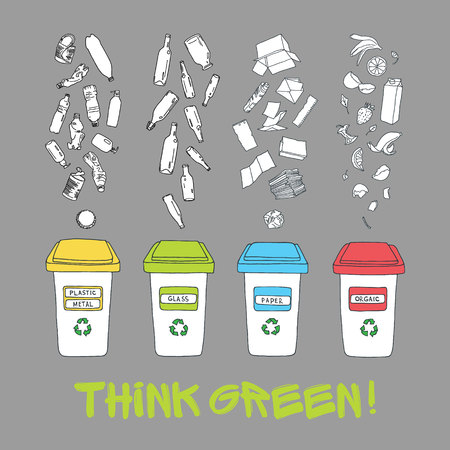 segregate: Vector waste sorting set. Hand drawn recycle infographic with trash bin and garbage icons. Waste sorting, processing and recycling of garbage.