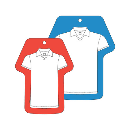 white cloth: T-shirt template tag. Vector t-shirts tags isolated on white. Cloth  tag, cloth label. Illustration