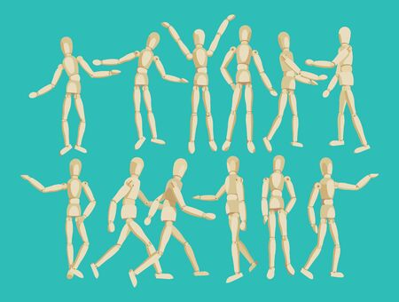 moving in: Wooden figure of a man. Wooden articulated man. Doll on the hinges. Moving articulated people isolated on a white background. Model of  people in actions.