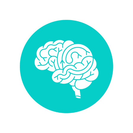 gyrus: Human brain logo. Vector logo of human brain view. Brain outline logo for medical design or education. Vector logo brain isolated on white. Illustration