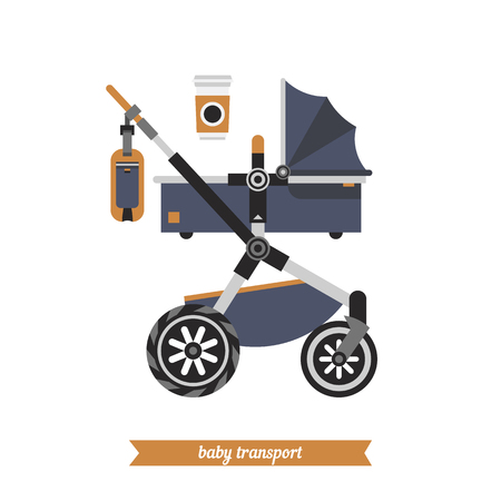 reclining: Reclining stroller for newborns. Baby carriage. Vector baby transport, baby and childhood. Vector baby stroller and baby walking stuff.  Walk with baby.