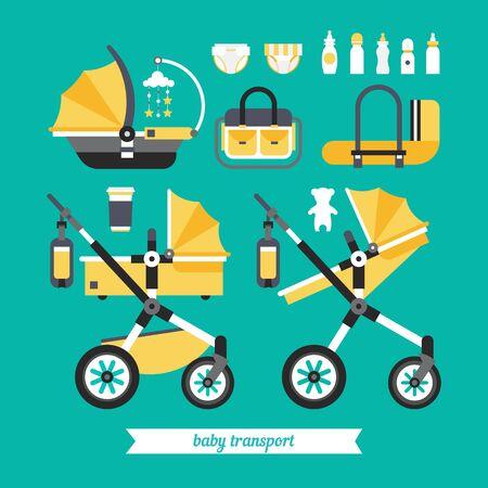 Transport Baby-Sachen. Vector Baby Verkehrsmittel. Baby-Kinderwagen Transformator. Vector Kinderwagen gesetzt. Neugeborene Zeug zum Wandern. Dinge, die Sie brauchen, um das Kind zu transportieren und geht mit einem Neugeborenen. Vektorgrafik