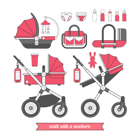 sidecar: Baby pram. Vector baby carriage set. Different types of transport for children. Coloring for boy and girls. Car seat for baby.