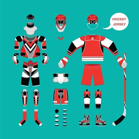 balaclava: Ice hockey clothes set. Vector ice hockey clothes in flat style. Isolated ice hockey clothes on white background. Ice hockey clothes template.