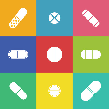colds: Vector drugs icons: pills, vitamins, capsules. Medicine vector. Medical first aid for colds.  Vector pills icons. Isolated pills icons. Vector vitamins.