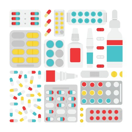 pharmacy store: Vector pharmacy  store set. Isolated parmacy store stuff. Pharmacy store stuff in flat style. Vector pills, vitamins, capsules and prescription bottles. Illustration