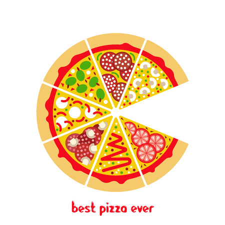 mozzarella cheese: Flat pizza icon. Vector pizza slices. Flat vector pizza ingredients. Isolated pizza icon. Vector pizza icon. Vector fast food icon.