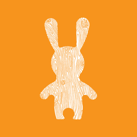 vitamine: Vectorr rabbit illustration. Adorable hare in flat style. Vector hare icon with wooden texture. Bunny cartoon flat style icons. Illustration