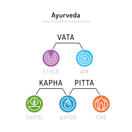 ayurvedic: Ayurveda vector illustration doshas vata, pitta, kapha. Ayurvedic body types. Ayurvedic infographic. Healthy lifestyle. Harmony with nature. Illustration