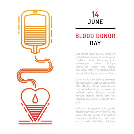 rh: Medical concept on world blood donor day on June 14. Blood donation vector illustration.