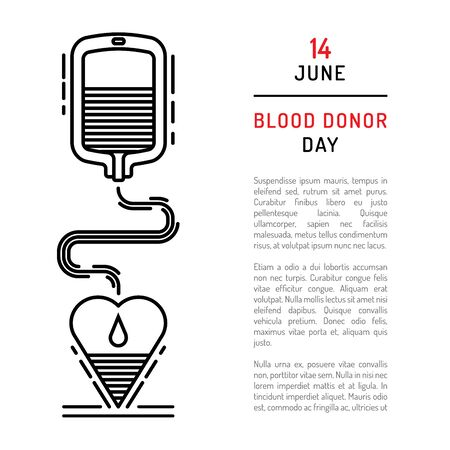 donor blood type: Medical concept on world blood donor day on June 14. Blood donation vector illustration.