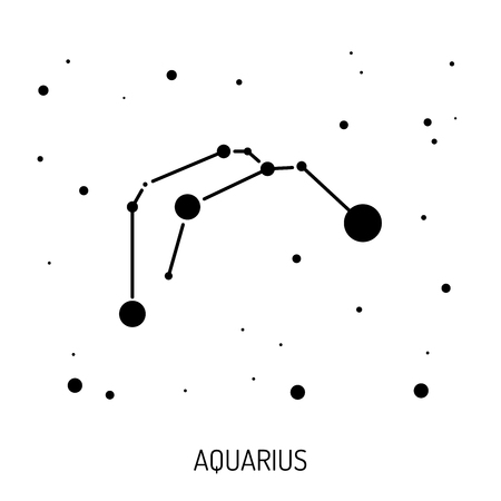 abstract aquarius: Group of stars forming a constellation. The constellation is made in a linear style