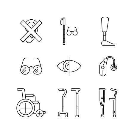 hearing aid: Icons denoting various degrees of disability of the person. chair wheelchair for the disabled. The white cane. Hearing aid.