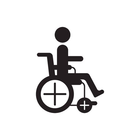 Man in wheelchair silhouette. World day for the disabled logo, icon, drawn by points. Stock Illustratie