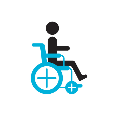 atrophy: Man in wheelchair silhouette. World day for the disabled icon, drawn by points. Illustration