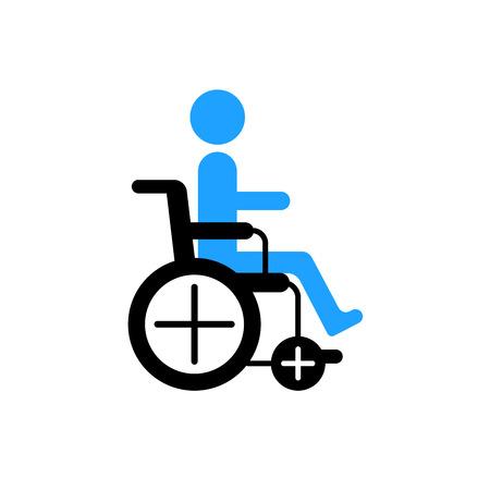 paraplegico: El hombre en la silueta de silla de ruedas. día mundial para el icono de discapacitados, dibujado por puntos.