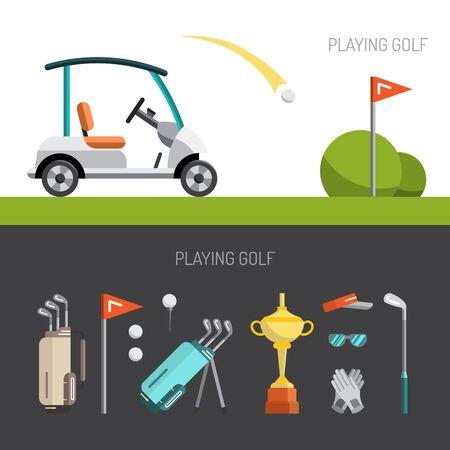 ゴルフのゲームの要素のセットは、フラット スタイルで描かれています。ゴルフのパター。