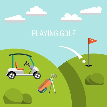 caddy: Elements for a game of Golf. Golf course. the game of Golf is painted in flat style