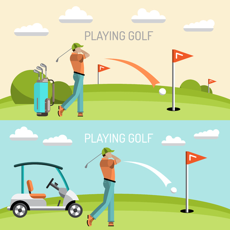 caddy: Set of elements for the game of Golf is painted in flat style. Putter for Golf. Illustration