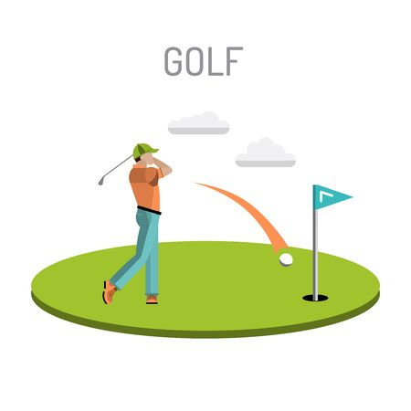 golfball: Set of elements for the game of Golf is painted in flat style. Putter for Golf. Illustration